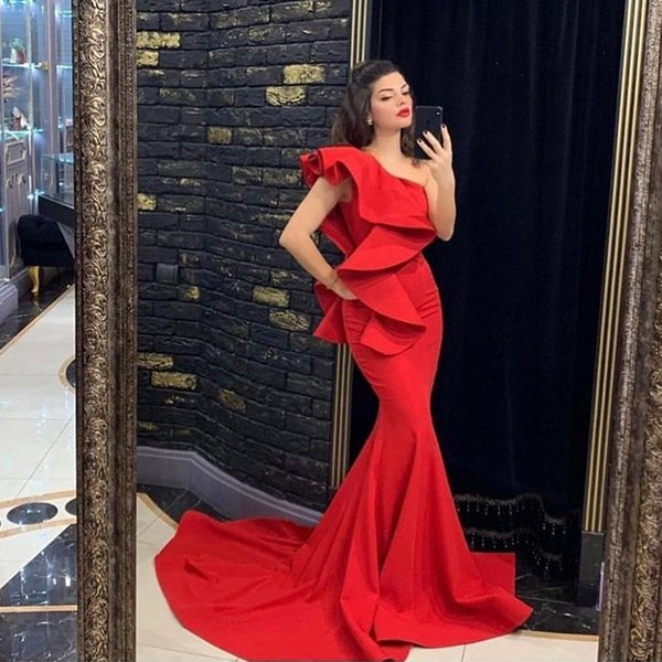 Red Sexy Mermaid Evening Dresses 2020 Ruffles Satin One Shoulder Long Train Prom Dresses Arabic Formal Gown Vestidos de fiesta de noche