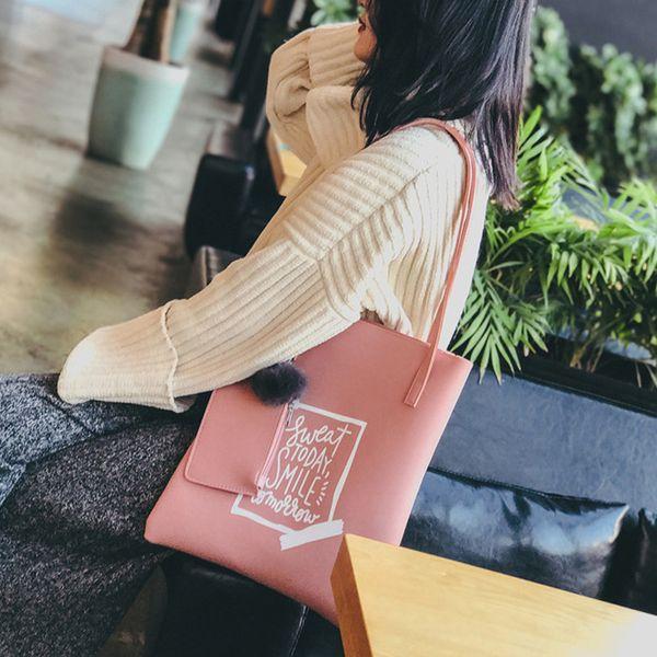 2PC Fashion Women Hair Ball Bucket Handbag Crossbody Bag + Messenger Bag Sweat Today Smile Tomorrow Shoulder Bags#40
