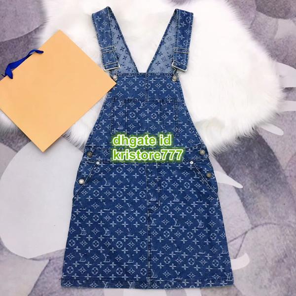 Kadınlar Vintage Denim Tulum Elbiseler Yelek Ile Mektup Baskı Mini Mavi Elbise Kızlar High End A-Line Kadın Pist Cep Elbise Sml