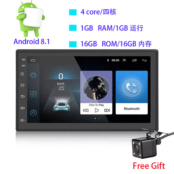 7 inç çift din 12 V araba DVD Android 8.1 ses ve video oynatıcı HD kapasitif dokunmatik ekran 1080 P video GPS 1 GB RAM WIFI 4G ayna bağlantı