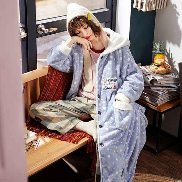 New Cute Girl Flannel Autumn Winter Bathrobe For Women Kawaii Dots Hooded Szlafrok Badjas Female Home Warm Robes