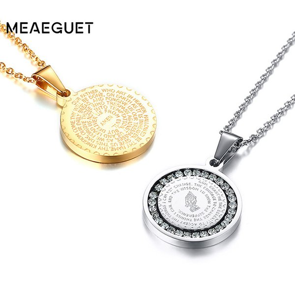 Hand Coin Medal Pendant Bible Verse Prayer Men Women Necklace Stainless Steel Gold Silver Couple Jewelry Hand Coin Medal Pendant Bible Verse