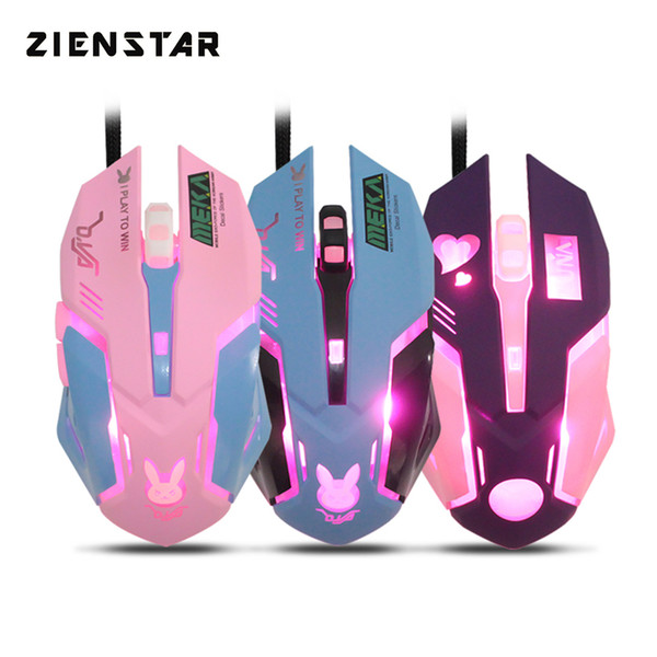 Zienstar wired mouse usb mouse com 7 cores backlit, 3200 dpi, amarelo rosa roxo cores azuis para macbook, computador pc, laptop