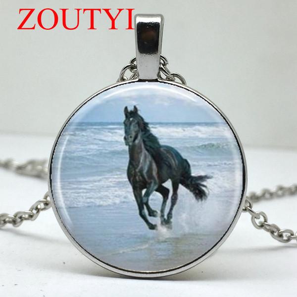 2018/fashion black horse stallion pattern round pendant necklace, men and women wear jewelry necklace