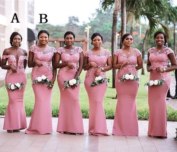 2019 Nigéria sud-africain rose sirène demoiselle d'honneur robes plus la taille pure encolure en dentelle appliques étage longueur robe de mariée invité BM0614
