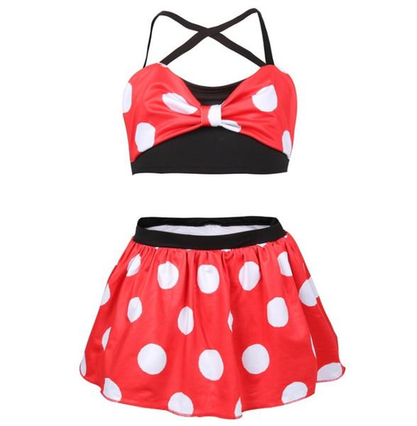 2019 Summer Girls swimsuits children Bows bikini swimming kids polka dots split swimwear children cartoon beach bathing suit F8032