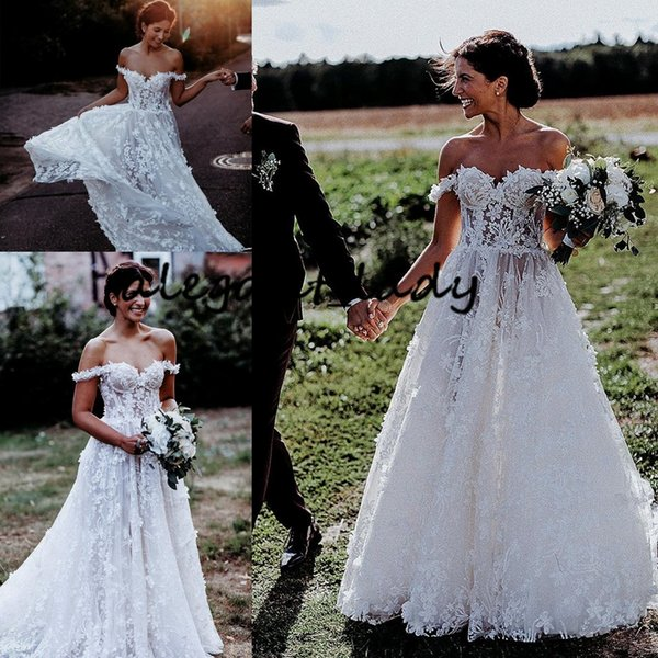 Country Full Lace Applique Wedding Dresses 2019 Modest Off Shoulder 3D Floral Fairy Bohemian Western Garden Bridal Wedding Gown