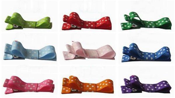 20pcs mini hair accessories bows clips layered polka dot ribbon covered Double Single Prong Duckbill Alligator Hairpins Baby headwear FJ3226
