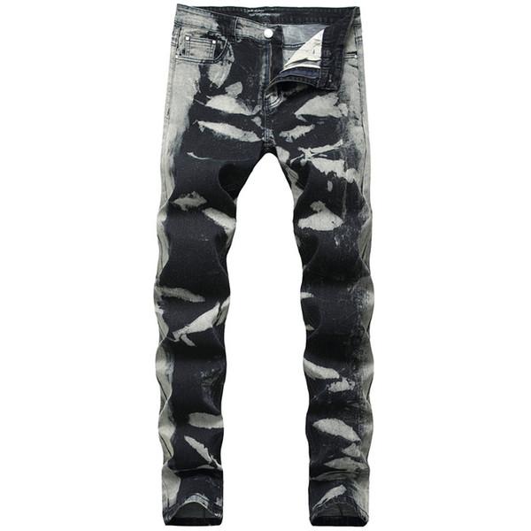 Cinza Manchas Regular Mens Jeans Moda Estiramento Longo Lápis Designer Calças Mid Cintura Impressão Mens Calças