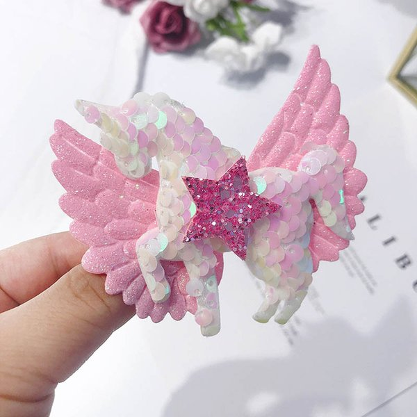 Unicorno ragazze clip di capelli paillettes ali d'angelo principessa mollette archi dei capelli baby clip BB ragazze accessori per capelli di design hairclips A6034