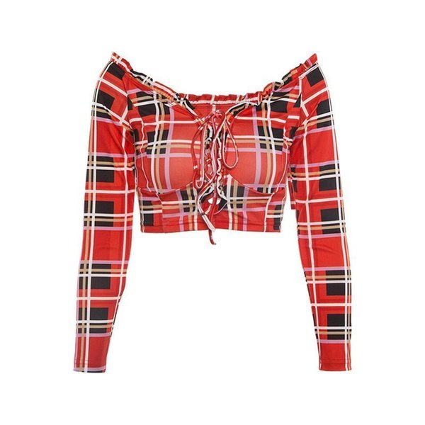 Femmes Fille Crop T Shirt Top Off Épaule À Lacets Sweet Red Plaid Casual Sexy Club Voyage Plage Tee Shirts Tops C19041501
