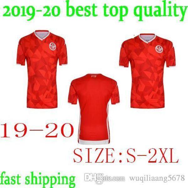 Maillot de foot Tunisien 2019 2020 neuf pour Homme 8 FAKHREDDINE 11 KHALIFA 13 SASSI 12 MAALOUL Maillot de foot Domicile Rouge Blanc 19 20