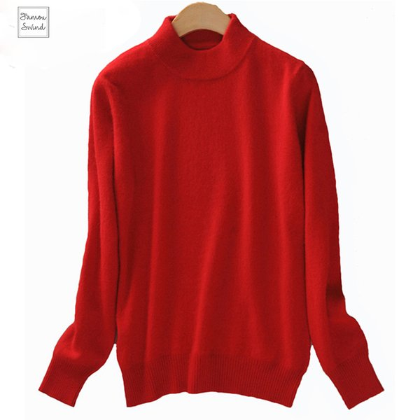 2019 Sweater Cashmere Christmas Women Knitted Sweater Tops Female Long Sleeve Autumn Winter Wool Turtleneck Pullovers