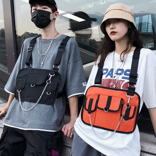 2019 Women Men Hip Hop Tactical Waterproof Black Tool Streetwear Bags With Chain Chest Bag Rig Street Vest Waist Pack 616
