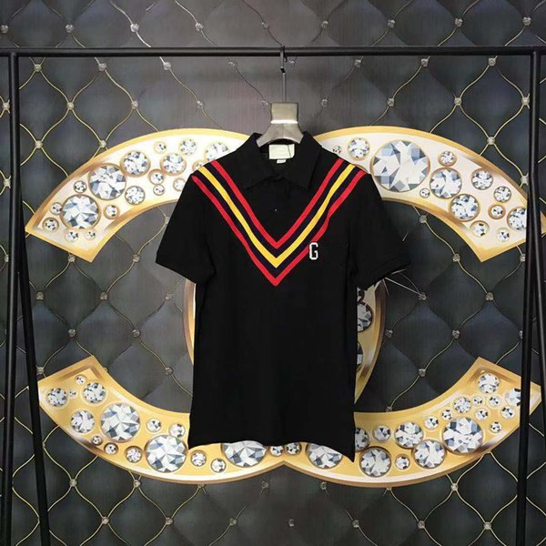 2019 Moda t-shirt da uomo di design t shirt di marca manica corta Rosso e giallo V strisce Lettera patch Polos Cotton T shirt da uomo Top Quality