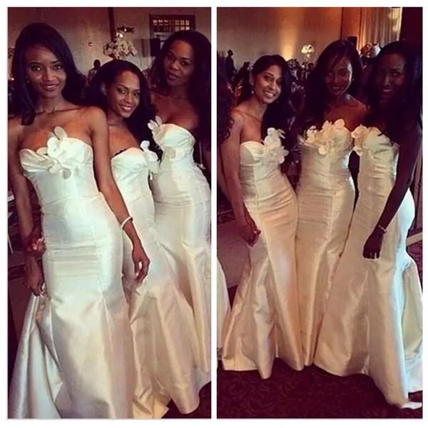Elegante Branco Africano Magro Sereia Vestidos de Dama de honra Strapless Camadas Ruffles Longo Maid of Honor Wedding Guest Árabe Vestidos de Festa Vestido de Baile