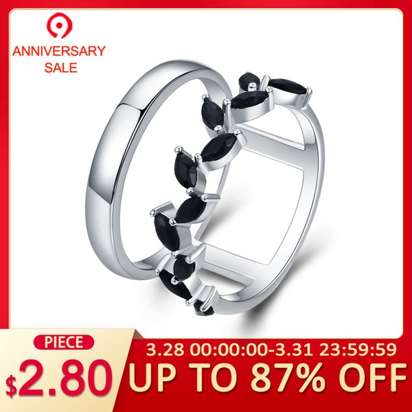 [BLACK AWN] Hyperbole 3.7g 925 Sterling Silver Fine Jewelry Trendy Engagement Bague Black Spinel Leaf Women's Wedding Ring G001