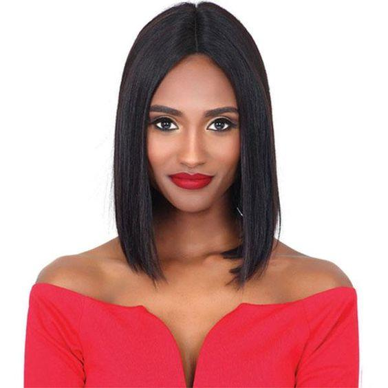 high quality Silky straight short bob little lace front wig Simulation human hair short bob straight wig for ladies in stock