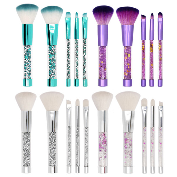 5шт набор прозрачных хрустальных кистей для макияжа с ПВХ-мешком акриловая ручка синтетическая красота макияж инструменты