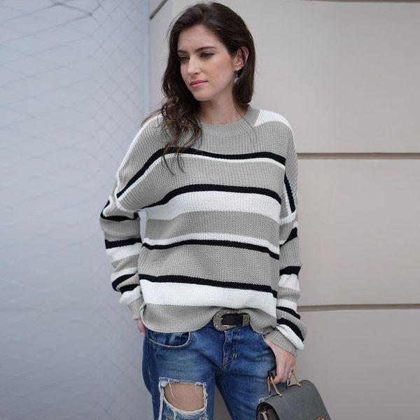 suéter amarillo Mujeres Pullover Patchwork de punto Raya Manga larga O-cuello Suéter Top jumper pull femme sueter mujer invierno
