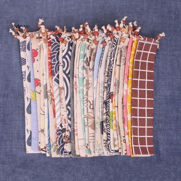 Japanese Style Portable Bundle Pocket 33 Colors Print Linen Chopsticks Spoon Rope Sack Reusable Storage Bags 1 3kbE1