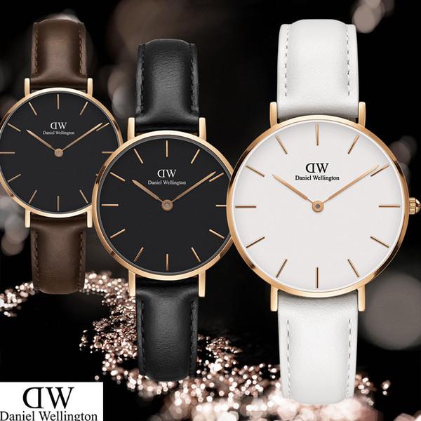 CON CAJA 2019 marca de moda 32 mm Hombres relojes mujer cuero Nylon oro Casual DANIEL WELLINGTON DW reloj de cuarzo envío gratis