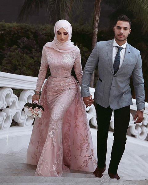 2019 Said Mhamad High Neck Evening Dresses High Neck Mermaid Overskirts Long Sleeve Formal Evening Occasion Dresses Custom Made Hot Sale
