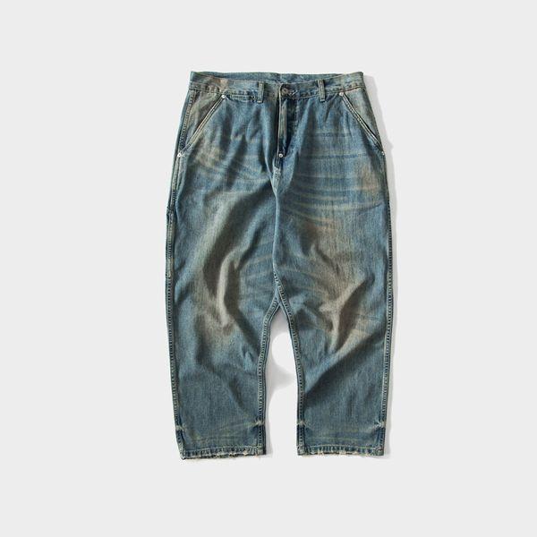 2019 japonais rétro Denim Loose Deep Hommes Jeans en détresse Casual Men Denim Cargo Pants