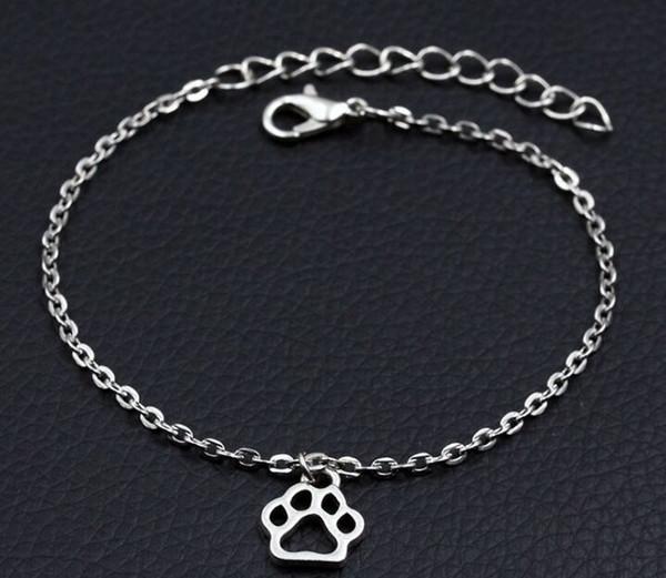 2019 novo cão personalizado pata imprime pulseira de prata antigo animais diy pulseira artesanal mulheres moda jóias