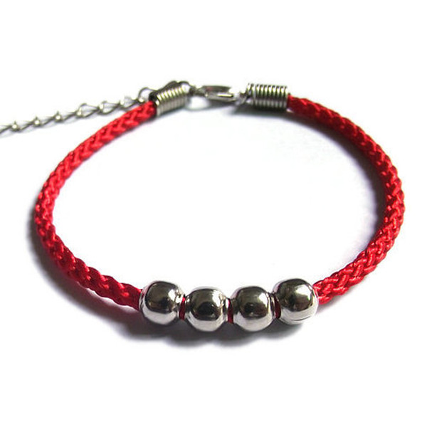 Lucky China Red Rope Metal Beads National Style Lucky String Braided Friendship Adjustable Bracelets