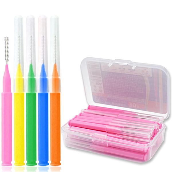 30 Pcs L Shaped Interdental Brush Denta Floss Interdental Cleaners Orthodontic dental teeth Brush Toothpick Oral Care tool