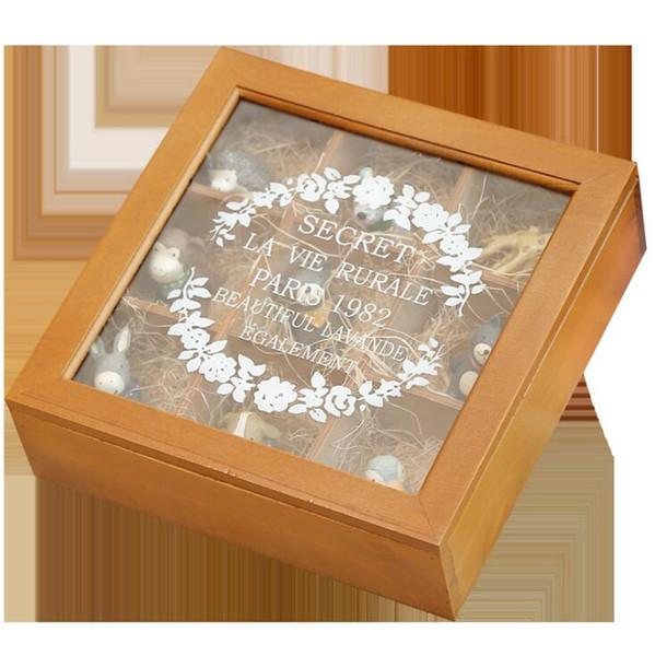 Caixas de Jóias de 9 Grades De Madeira Embalagem de Jóias Caixa de Armazenamento Organizador de Exibição Caixa de Presente Quadrado Caixa De Vidro Transparente Tampa Superior