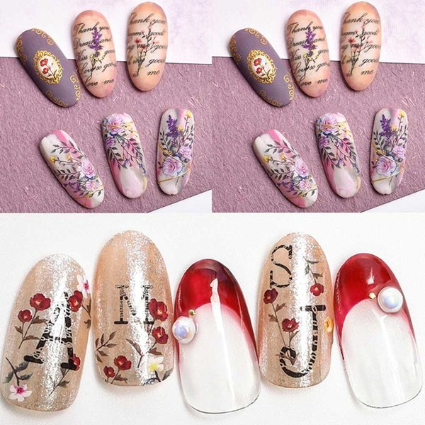 Japanese Dried Flowers Designs Nail Art Water Transfer Sticker Flower Decals Nails Watermark Nail Tools