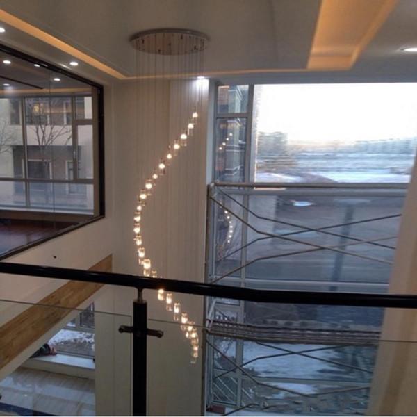 largas villas de araña de cristal Escalera Espiral Araña de cristal Iluminación escalera arañas de luz techo cuerda alta largechandeliers