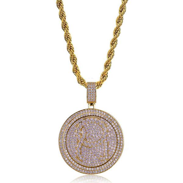 Spin Runde Anhänger Halskette Männer Bling Zirkonia Eis Aus Gold Schmuck Silber Überzogene Neue Mode Hip Hop Halskette