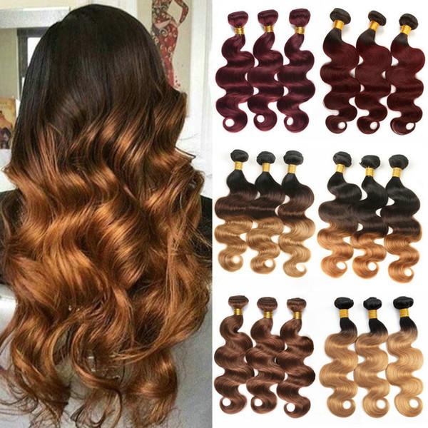T1B / 4/30 Ombre Body Wave Paquetes de tejido de cabello indio 3 tonos Negro Marrón Rubio Malasios de cabello humano de Malasia Remy brasileño 1B / 4/27
