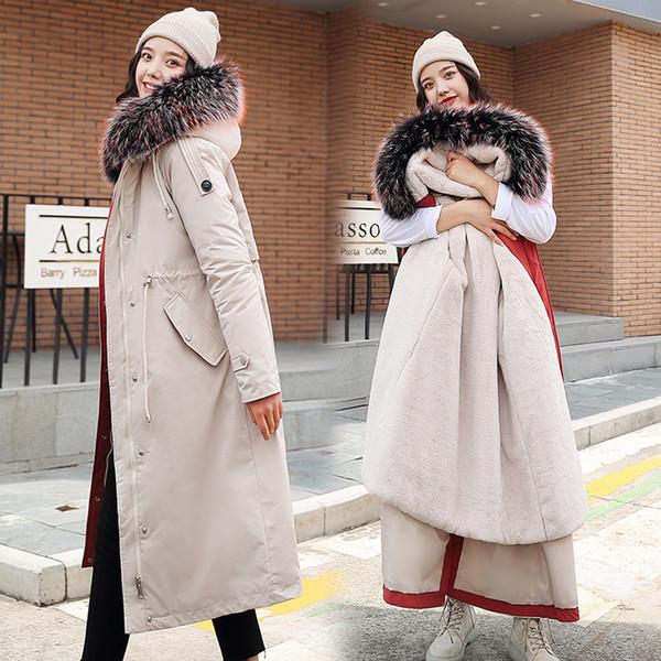 Coton Parka Manteau long Women2019 hiver Nouvelle taille plus chaud Doublure plus Parka Épaississement Furry Pardessus capuche Mesdames col de fourrure