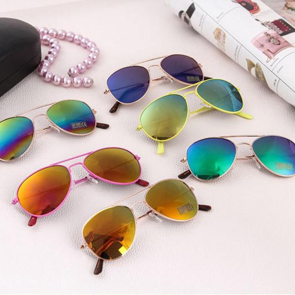 Niños gafas de sol polarizadas Moda Niños Marco de Metal completo Rana Espejo Gafas Niño Oval Deporte Sombra Chica Viajes Anteojos TTA1171
