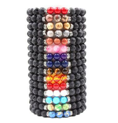 New Arrival Lava Rock Beads Charms Bracelets colorized Beads Men's Women's Natural stone Strands Bracelet For Fashion Jewelry Crafts 60 pcs