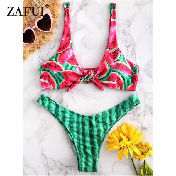 Zaful Sandía Bikini anudado Traje de baño Mujeres Traje de baño atractivo Cintura baja Plunge Tanga Bikini Traje de baño Traje de baño acolchado Biquni Y19062901