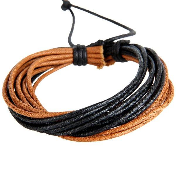 Uomini stile etnico arcobaleno multistrato mano corda di cera tessitura braccialetto in pelle braccialetto braccialetto gioielli unisex