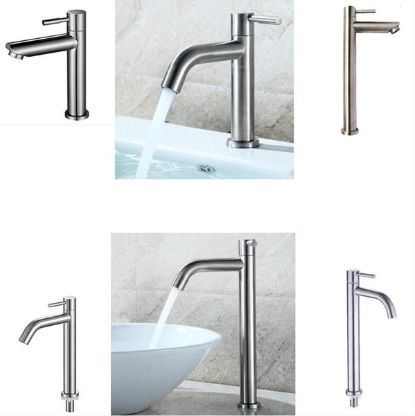 304 Stainless Steel Deck Mounted Sink Basin faucet Rust And Corrosion Resistance Bathroom Kitchen Single Cold Water Tap