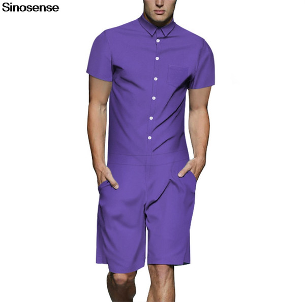 New Design Men Romper 2019 Solid Streetwear Casual Beach Party One-Piece Rompers Male Short Sleeve Jumpsuit Harem Cargo Overalls