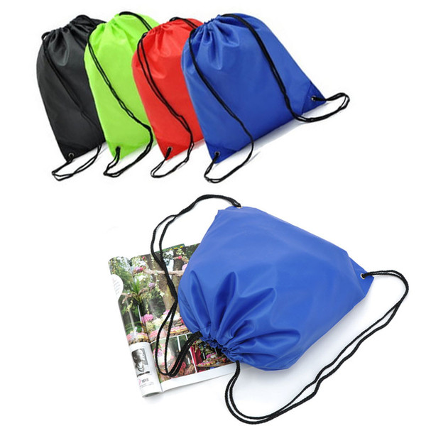 Newest Candy Color 210D Waterproof Canvas Nylon Drawstring Bag Boy Girl Clothes Shoes Portable Bags 9 Colors Travel Sports Gym Backpack M33F