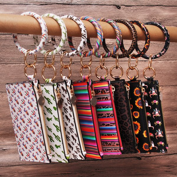Cactus Bracelet Clutch Wholesale Blanks 6 Colors Leopard Keychain Card Holder Faux Leather Coin Purse Gift DOM1061299