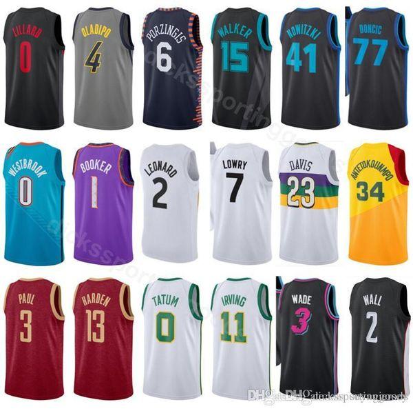 brand new 52a77 40727 2019 College Basketball 0 Damian Lillard Jersey 2019 City Edition 4 Victor  Oladipo 6 Kristaps Porzingis 15 Kemba Walker Dirk Nowitzki Luka Doncic From  ...