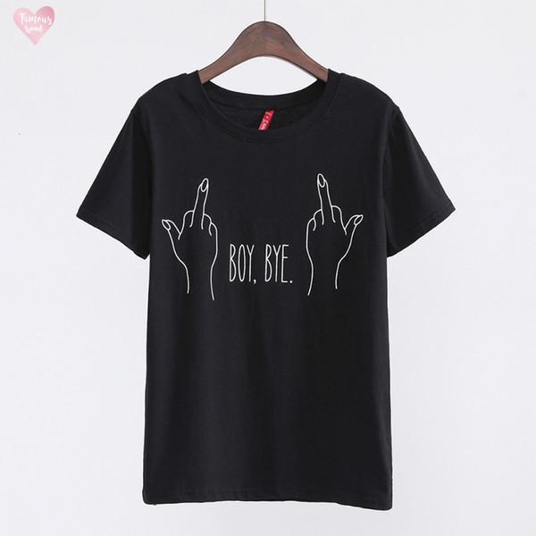 2019 New Fashion T Shirt Young Bye Print Letter Crew Neck T Shirt Women Tops Casual Brand Shirt Femme Woman