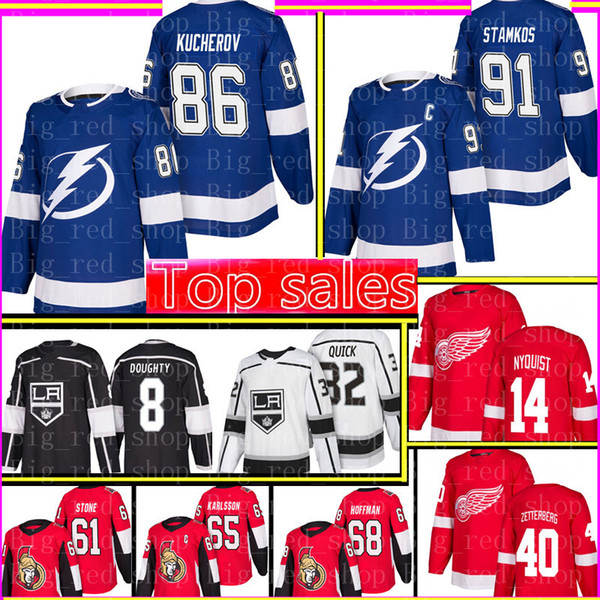 top popular 91 Steven Stamkos Tampa Bay Lightning 86 Nikita Kucherov Jersey Los Angeles King 8 Drew Doughty 32 Quick 14 Gustav Nyquist 61 Mark Stone 2019