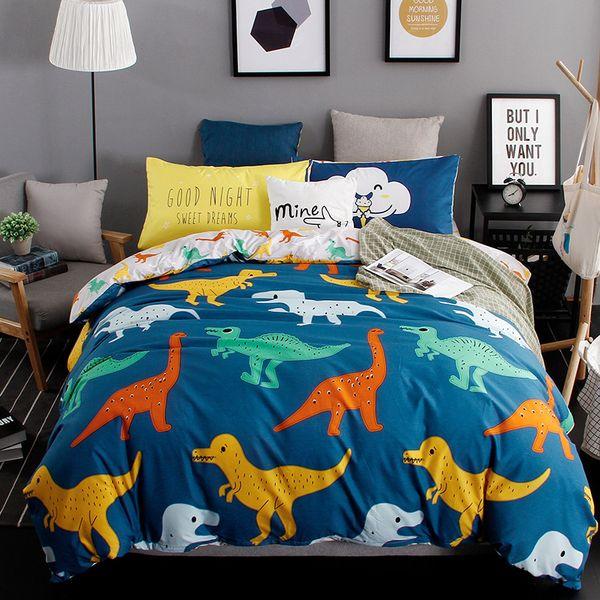 Accueil Textile ours polaire imprimé animal enfants Literie Lit d'enfant Linge 4pcs / set lit Dinosaur feuille housse de couette