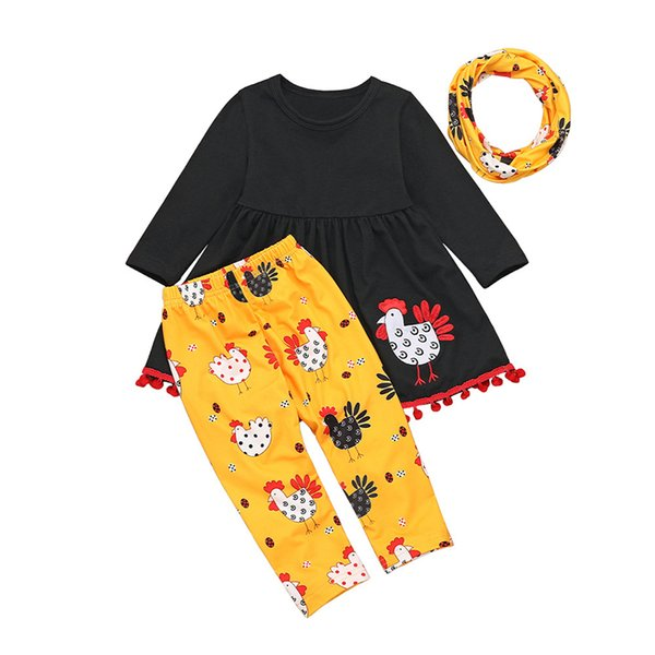 US Cute Baby Girls Thanksgiving Turkey Clothes Tops+Suspender Skirt 3Pcs Outfit